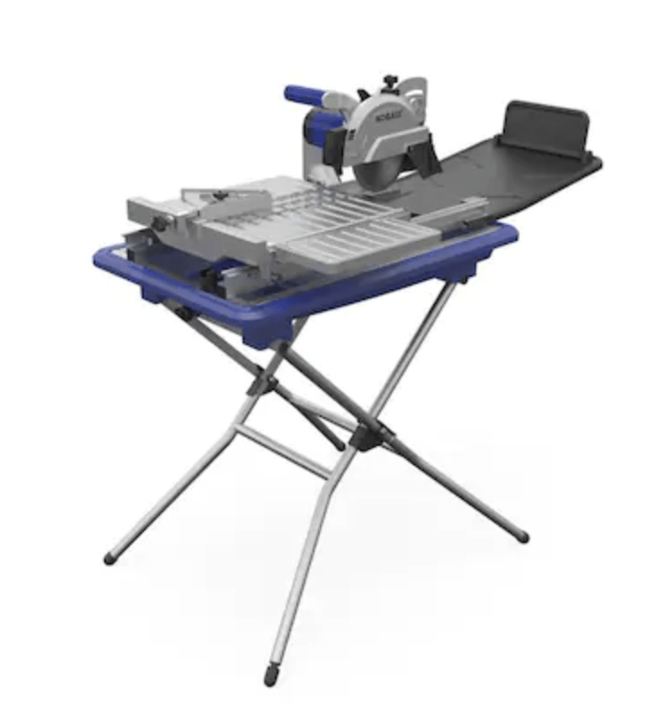 Showcase the product Kobalt 7-in 1.6 Wet Tabletop Sliding Table Tile Saw with Stand