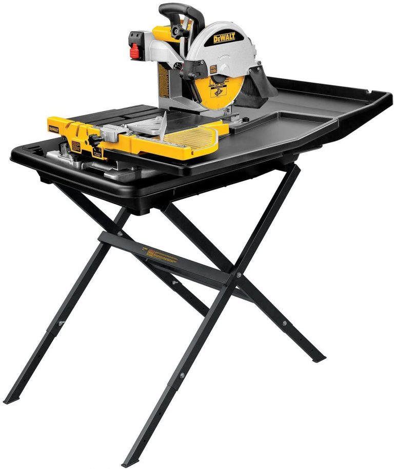 Showcase the product DEWALT Wet Tile Saw with Stand, 10-Inch (D24000S)