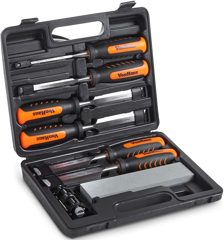 VonHaus 8 piece Woodworking Wood Chisel Set